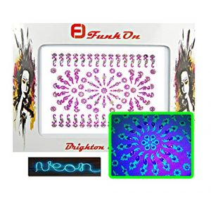UV Glow Neon Face Jewels Fluorescent Face Sticker/Luminous light reactive Body Gem glitter tattoos/Pack of Neon Diamonte Bindi Gems/Add face paint for festival Make up beauty essentials nv01pin (FunkOn Ltd, neuf)