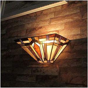Applique Murale de Style Tiffany, Lampe Murale Intérieur Rustique 11.8 pouces Lampe de Mur Abat-jour en Verre Vitrail Lumière de Chevet pour Chambre Salon Restaurant Loft, 1x60W E27 (WLXJDJ, neuf)