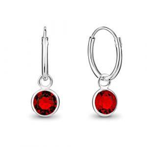 DTPsilver - Boucles d'oreilles Femme Créoles en Argent Fin 925 - Diamètre 12 mm avec Cristaux de Swarovski Elements - Couleur Rouge - Rond (DTPSilver, neuf)