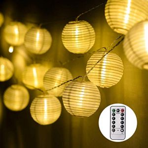 EKKONG Guirlande Lumineuses LED Lanterne à Piles Exterieur avec Télécommande & Minuteur, 30 Boules LED, Longeur 7.8M, 8 modes Guirlandes Lumineuses pour Maison Jardin(Blanche Chaude) (allenstore, neuf)