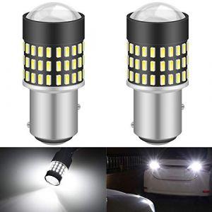 KaTur 1157 BAY15D 1016 1034 7528 Ampoule LED 900 Lumens 3014 78SMD Lentille Ampoules LED pour feu Stop Clignotant Feu arrière Double feu arrière, Blanc Xenon (Pack de 2) (KAtur, neuf)