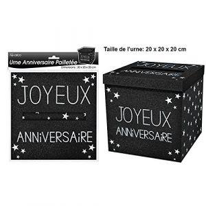 URNE JOYEUX ANNIVERSAIRE PAILLETEE NOIRE (HAPPY AND LOC, neuf)