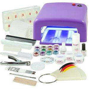 Kit de manucure + nail art professionnel complet - Lampe UV 36W Violette (4 ampoules), Gels UV (3) et tous les accessoires pour les ongles - Format XXXL (NAILS-FACTORY, neuf)