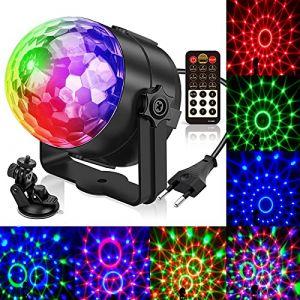 Lampe de Scène, Gvoo 5 Couleur Lumière Fête 5W Ampoules LED 7 RGB à Commande Sonore Mini Projecteur Boule Cristal Eclairage à Télécommande pour Cadeau Scène Fête Soirée DJ Disco Bars Clubs Karaoké (GVOO Direct, neuf)