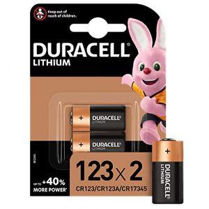 Pile lithium haute puissance Duracell 123 3V, pack de 2 (CR123 / CR123A / CR17345), conçue pour une utilisation dans les caméras Arlo, capteurs, verrous sans clé, flashs photo et lampes de poche (AO DISTRIBUTION, neuf)