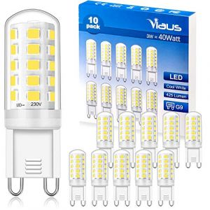 G9 LED Blanc Froid, Ampoule 3W Equivalente à 28W - 40W, 6000K, IRC>85, 425LM, AC 220V-240V, Non Dimmable, No-Flicker, Culot G9 Capsule Pour Applique Murale Plafonniers Lustre, 10 Pack by Viaus (YYLIGHT, neuf)
