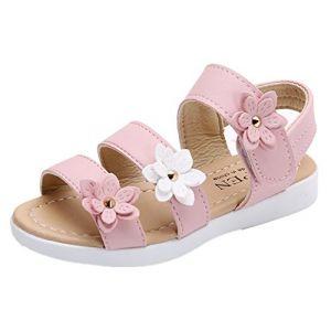 YOGLY Sandales Fille Enfant et Nu-Pieds Bout Ouvert Chaussure Princesse d'été pour Mariage déguisement (EVERY, neuf)