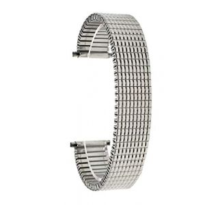 Bandini 22mm Bracelet de Montre Extensible en Acier Inoxydable pour Hommes, Ton Argent, extrémité Droite, Bracelet Montre métallique à Expansion, sans Boucle (Shoptictoc., neuf)