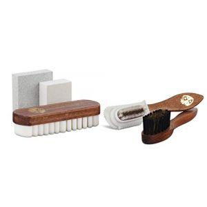 Langer & Messmer kit de cirage et polissage chaussures avec 5 brosses daim et gomme nubuck et gomme daim (Langer & Messmer, neuf)