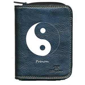 Porte monnaie porte carte noir Motif Ying Yang personnalise avec prenom (sylla city, neuf)