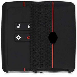 kwmobile Accessoire clé de Voiture pour Renault - Coque pour Clef de Voiture Smart Key (Keyless Go Uniquement) Renault 4-Bouton en Silicone Noir-Rouge - Étui de Protection Souple (KW-Commerce, neuf)
