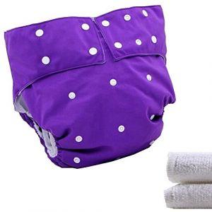 LukLoy - Couches en tissu pour adolescents/adultes avec 2 inserts pour soins de l'incontinence - Double ouverture - Lavable et réutilisable - Sans fuite (Shenzhen M-Home, neuf)