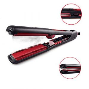Lisseur à vapeur à vapeur, température réglable 2 en 1 Lisseur à cheveux professionnel peigne à lisser avec conception de l'écran LCD (SHAOSHANFENG, neuf)