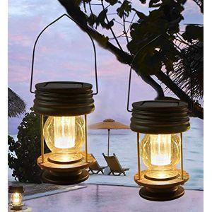 Obell solaire à suspendre lanternes Lot de 2Lampe de jardin extérieur LED Lampes solaires à suspendre vintage avec poignée pour allée cour terrasse Décor Arbre de plage Pavilion lumières (Obell Solar, neuf)