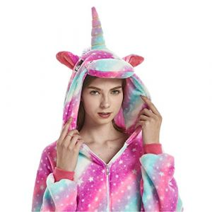 Animal Cosplay Costume Adulte Licorne Onesie Pyjamas Avant Fermeture Éclair Cosplay Vêtements De Nuit Halloween Costume (Purple Licorne, L/Hauteur 168-177cm) (sunbaby, neuf)