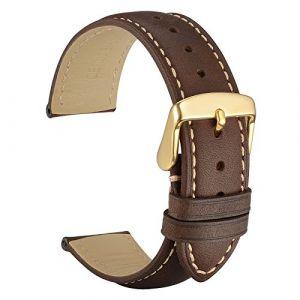 WOCCI 14mm Vintage Bracelet Montre en Cuir pour Homme Femme, Sangle de Rechange Marron Foncé (Wocci Watch Bands-fr, neuf)