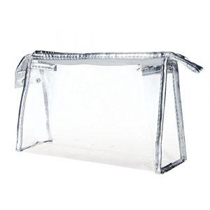 Trousse de rangement en PVC imperméable avec fermeture Éclair transparente pour cosmétiques, maquillage, trousse de toilette argent Silver taille unique (GREENLANS, neuf)