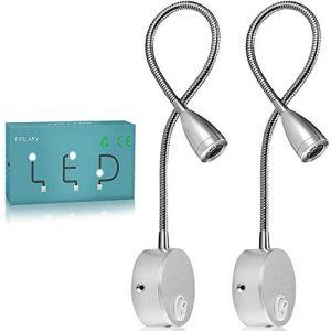 Lampe de lecture,2 lumières de lit à LED,Montée sur le mur à côté des lampes en aluminium,lampe d'éclairage blanc chaud,200 Lumen/3000K/3W,Angle de faisceau:30 °,Longueur du col de cygne:38cm (FIFILARY, neuf)