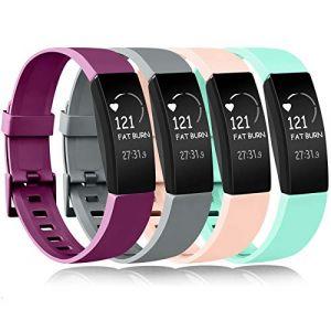 Amzpas Compatible pour Fitbit Inspire Bracelet & Fitbit Inspire HR Bracelet, Classique Bracelet Bande de Remplacement Compatible pour Fitbit Inspire HR (0006 Pourpre+Gris+Rose+Menthe Verte, L) (SMXMY-CN, neuf)