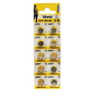 Vinnic Premium Piles bouton 10x AG6, 171, 370, 371, SR920, horloge LR920Batterie (P & F France, neuf)