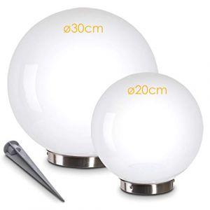 Boule lumineuse solaire blanche créant une ambiance chaleureuse, Luminaire de jardin solaire équipée d'un détecteur crépusculaire, Boule lumineuse LED parfaite pour décorer jardin, terrasse, véranda (hofstein, neuf)