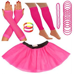 Redstar Fancy Dress - Tutu/guêtres/Mitaines résille/Collier de Perles/Bracelets en Caoutchouc/Bracelets Fluo - Rose - 42-50 (Redstar Online, neuf)