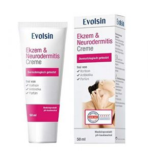 Crème Evolsin pour l'Eczéma et la Dermatite atopique, Lotion, Pommade pour peaux sèches, démangeaisons et peaux irritées I elle guérit la peau et soulage les démangeaisons I SANS CORTISONE (Evolsin, neuf)