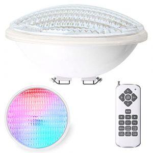 LEDMO 40W Lampe Piscine LED PAR56 Étanche IP68 Lampe de Piscine RGBW Submersible Lumière 12V DC/AC spot led couleur avec Télécommande 7 couleurs réglables, 15 modes d'éclairage (Oslar, neuf)