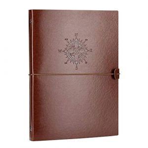 VEESUN A4 Carnet de Notes Blanc Cahier de Voyage Diary Notebook Croquis Dessin Rechargeable Journal Cuir, Vintage Noël Saint Valentin Anniversaire Mariage Cadeau pour Hommes Femmes Enfants, Boussole (Yangling UK, neuf)