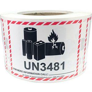UN3481 Piles au Lithium-Ion les Petits Paquets Autocollants, 83 x 108 mm 3,25 x 4,25 Pouce Étiquettes d'Avertissement 500 Paquet (InStockLabels, neuf)