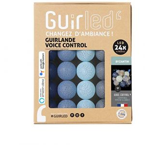 Guirlande lumineuse wifi boules coton LED USB - Commande Vocale - Maison connectée - Amazon Alexa & Google Assistant - Adaptateur secteur 2xUSB inclus - 24 boules 4m - Byzantin (Lighting Arena, neuf)