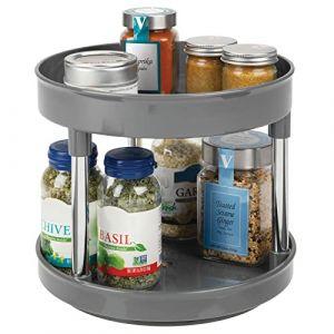 mDesign Lazy Susan plateau tournant en plastique à 2 étages pour épices, aliments, etc. - accessoire de rangement cuisine pour placards et plan de travail - étagère à épices - gris (DékorWNN, neuf)