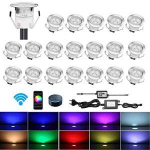 CHNXU 20 LED Spot Encastré Extérieur avec WIFI Contrôleur 30MM Lumière Encastrable IP67 Mini Spots Etanche pour Terrasse Jardin Patio Escalier RGB Changeable DC 12V Puissance:0.1W-0.3W (CHENXU, neuf)