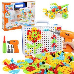 LEADSTAR Jeu Mosaique Enfant, 3D Jeu de Construction, Perceuse Electrique Magique, Educatif Cadeau Montessori 3 Ans pour Fille Garcon, Puzzle Créatifs - 237 Pcs (Qing EU, neuf)