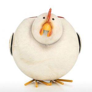 """Rantoloys poule Pot de fleur fer poulet planteur coloré succulentes fleurs à la main intérieur jardin extérieur vaste décor 9.4""""x 6.3"""" (blanc et jaune et brun) (Hashoo, neuf)"""