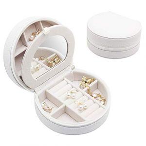 Mini boîte à bijoux portable boîte à bijoux simple boîte de rangement de bijoux boîte de bijoux de velours pour boucles d'oreilles,White (shengyuanwujin, neuf)