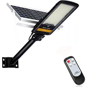 Kingwei 80W Réverbères Lampadaire Solaire Exterieur,6500K Projecteur LED Solaire avec Télécommande,84 LED Extérieur étanche Lampadaires à l'extérieur pour Jardin, Garage, Cour, Patio (ezon europe, neuf)