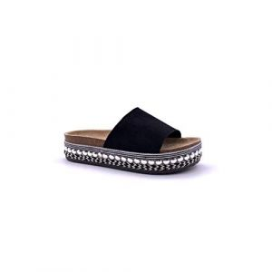 Angkorly - Chaussure Mode Sandale Mule Ouvert Grosse Semelle Confortable Femme Simple Basique Perle avec de la Paille Talon Plat 4.5 CM - Noir - 503-4 T 38 (Angkorly, neuf)