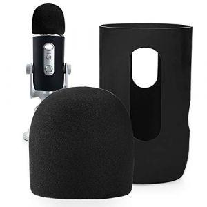 YOUSHARES Microphone Bonnette en Mousse à Blue Yeti, Yeti Pro pour Anti-Vent Pop Filtre, Protector for Blue Yeti, Yeti Pro Condenser Micro?NOIR? (Heartorigin Direct, neuf)