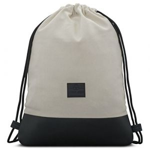 65fa39bf1b Sac à Dos Cordon Coton Blanc / Noir - JOHNNY URBAN Sac de Gym Sackpack  Gymsack