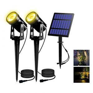 LED Solaire Projecteur, T-SUN Lampe Solaire 2 LED Spots Blanc Chaud Imperméable à l'eau, Lumières Solaire de Jardin, Éclairage de Sécurité, Paysage Lumière pour Patio/Terrasse/Cour/Escaliers, etc. (T-SUNLED, neuf)