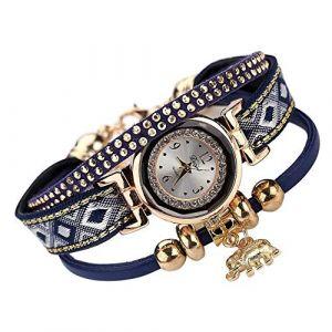 Montre Femme Femmes populaires mode pendentif éléphant en or montre de luxe (Color : Bleu) (AiSiWeiDianZi, neuf)