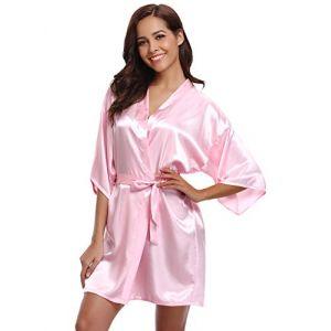 Aibrou Peignoir Satin Femme Robe de Chambre Kimono Femmes Sortie de Bain Nuisette Déshabillé Couleur Pure Vêtements de Nuit pour la Fête Mariage (XL: épaule 62cm, Buste 124cm, Bébé Rose) (Aibrou Direct, neuf)