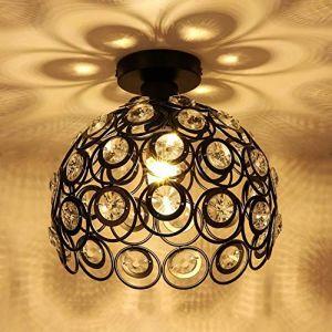 Moderne Plafonnier Industriel Noir Lustre Abat-jour cristal en Métal E27, Suspension Luminaire éclairage pour Salon Chambre Café Bar Restaurent Salle à Manger (26cm) (DOO2U, neuf)