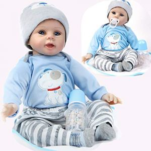 ZIYIUI Bébé Reborn Poupée Silicone Souple en Vinyle 22 Pouces 55cm Réaliste Nouveau née Bébé Reborn garçon Jouets (BuDe Fang, neuf)