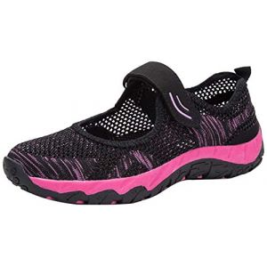 H-Mastery Femme Chaussures de Sport Respirante Léger Mesh Fitness Baskets pour Ballerine Yoga Marche Outdoor Velcro Mary Janes(Noir Rose,Taille38) (Hanson Mastery, neuf)