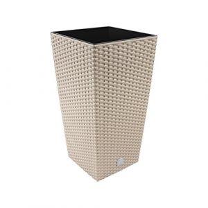 """Prosper Plast Drts265–7529u 26.5x 26.5x 50cm""""Rato"""" carré Pot de fleurs–Mocca (12pièces) (Stolmet Ltd, neuf)"""