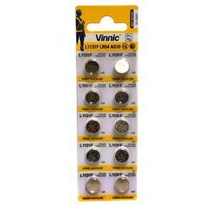 Vinnic Premium Piles bouton 10x AG10, 189, 389, SR54, LR1130, SR1131, horloge lr1131Batterie (P & F France, neuf)