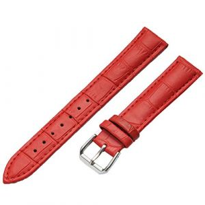 WSLCN Bracelet De Montre en Cuir Véritable Vintage Rétro Bracelet Montre de Grain Bande à Dégagement Rapide pour Homme Femme Rouge 14mm (light-in-the-dark, neuf)
