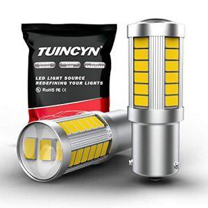 TUINCYN BAU15S PY21W Lot de 2 ampoules Blanches 5630 33SMD LED 6000K 900 lumens 7507 1156PY pour feu stop, feu de stationnement, clignotants, DC 12 V 3.6 W (TUINCYn, neuf)